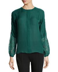 Blusa de manga larga de encaje verde oscuro
