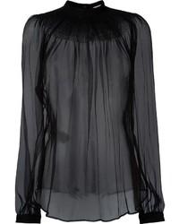 Blusa de manga larga de gasa negra