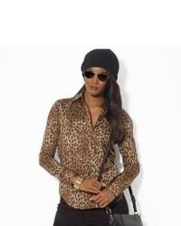 Blusa de manga larga de leopardo marrón claro