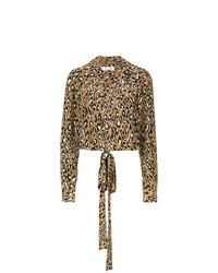 Blusa de manga larga de leopardo marrón