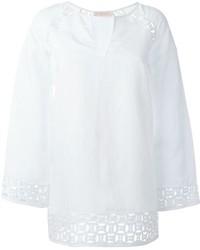 Blusa de manga larga de lino blanca