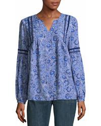 Blusa de manga larga de paisley azul