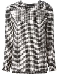 Blusa de manga larga de pata de gallo en blanco y negro de Ralph Lauren