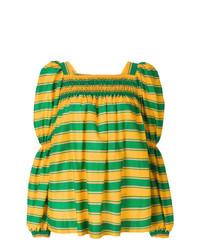 Blusa de manga larga de rayas horizontales amarilla de La Doublej