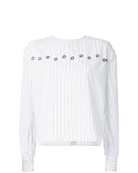 Blusa de manga larga de rayas verticales blanca de Jupe By Jackie