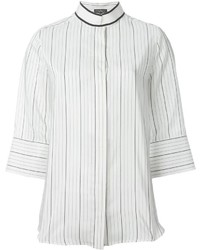 Blusa de manga larga de rayas verticales blanca de Salvatore Ferragamo