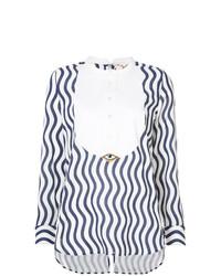 Blusa de manga larga de rayas verticales en azul marino y blanco de Figue