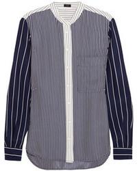 Blusa de manga larga de rayas verticales en azul marino y blanco de Joseph
