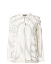 Blusa de manga larga de rayas verticales en beige de Vince