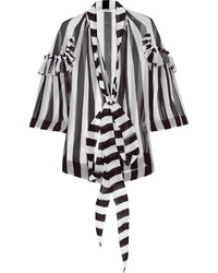 Blusa de manga larga de rayas verticales en negro y blanco de Givenchy