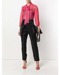 Blusa de manga larga de rayas verticales rosa de MSGM