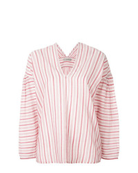 Blusa de manga larga de rayas verticales rosada de Vince