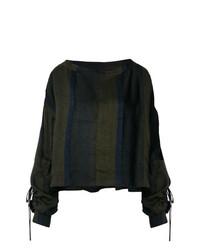 Blusa de manga larga de rayas verticales verde oliva de Andrea Ya'aqov