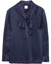 Blusa de manga larga de satén azul marino