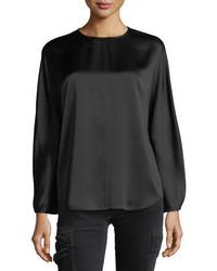 Blusa de manga larga de satén negra