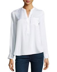 Blusa de manga larga de seda blanca
