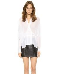 Blusa de manga larga de seda blanca de Alexander Wang