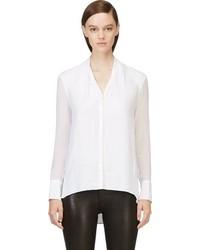 Blusa de manga larga de seda blanca de Helmut Lang