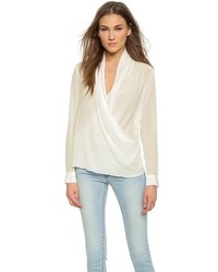 Blusa de manga larga de seda blanca de Just Female