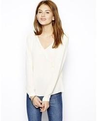 Blusa de manga larga de seda blanca de Only