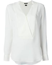 Blusa de manga larga de seda blanca de Theory