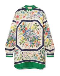 Blusa de manga larga de seda con print de flores blanca de Gucci