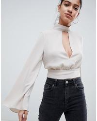 Blusa de manga larga de seda en beige de ASOS DESIGN