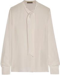 Blusa de manga larga de seda en beige de Bottega Veneta