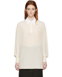 Blusa de manga larga de seda en beige de Stella McCartney