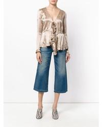 Blusa de manga larga de seda en beige de Tomas Maier