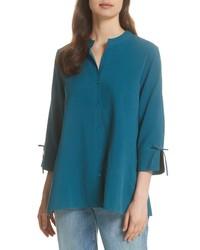 Blusa de manga larga de seda en verde azulado