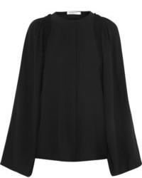 Blusa de manga larga de seda negra de Givenchy