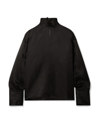 Blusa de manga larga de seda negra de The Row