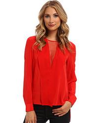 Blusa de manga larga de seda roja