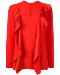 Blusa de manga larga de seda roja de Givenchy