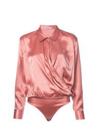 Blusa de manga larga de seda rosada