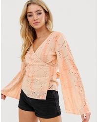 Blusa de manga larga efecto teñido anudado naranja de ASOS DESIGN