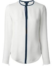 Blusa de manga larga en blanco y azul marino de Joseph