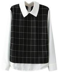 Blusa de manga larga en negro y blanco