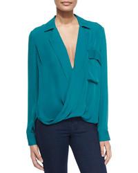 Blusa de manga larga en verde azulado