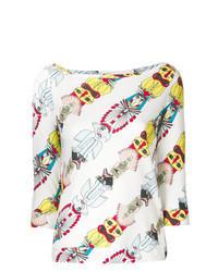 Blusa de manga larga estampada blanca
