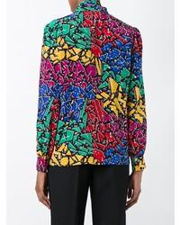Blusa de manga larga estampada en multicolor de Saint Laurent