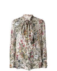 Blusa de manga larga estampada en multicolor de Tory Burch