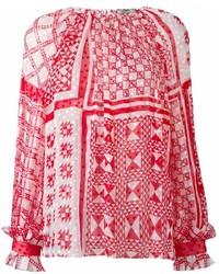 Blusa de manga larga estampada roja de Fendi