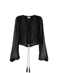 Blusa de manga larga negra de Saint Laurent