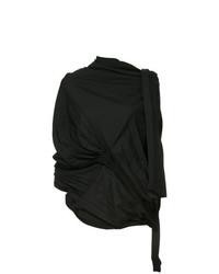 Blusa de manga larga plisada negra de Yohji Yamamoto