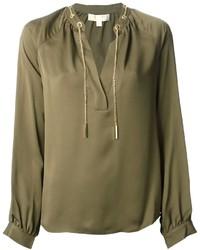 Blusa de manga larga verde oliva de MICHAEL Michael Kors