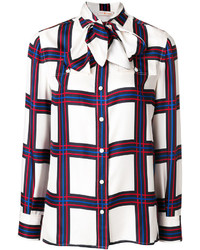 Blusa de seda a cuadros blanca de Tory Burch