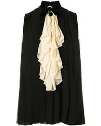 Blusa de Seda con Adornos Negra de Gucci