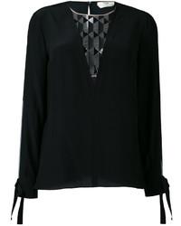 Blusa de Seda con estampado geométrico Negra de Fendi